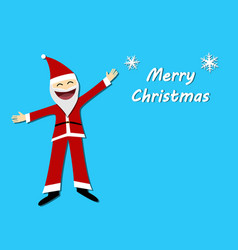 merry christmas card with santa claus in flat vector image vector image