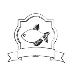 Monochrome blurred line contour with emblem fish vector