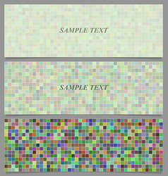 Multicolored square mosaic pattern banner set vector image vector image