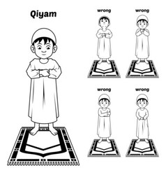 Muslim prayer guide qiyam position outline vector