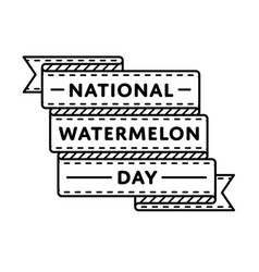 national watermelon day greeting emblem vector image vector image
