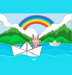 Origami boat with rabbit fishing vector