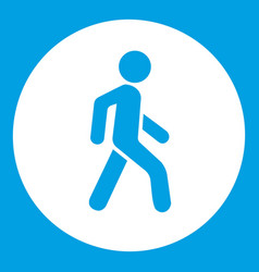 Pedestrians only road sign icon white vector