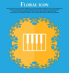 piano key icon Floral flat design on a blue vector image