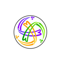 Process planner center letter m vector