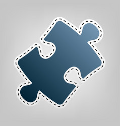 Puzzle piece sign blue icon with outline vector