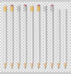 Realistic white wooden sharp pencil icon vector