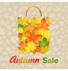 Sale bag of autumn leaves vector