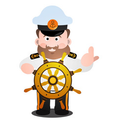 the captain at the helm is a cartoon funny vector image vector image