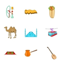 Tourism in turkey icons set cartoon style vector