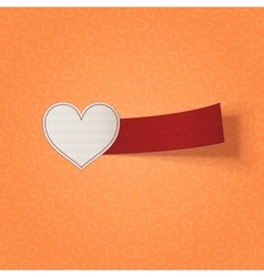 Valentines Day white Heart and red Ribbon vector image