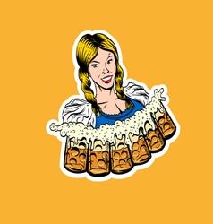 Waitress brings glasses of beer vector
