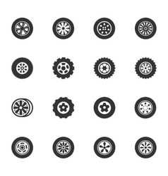 Wheels and rims icons set vector