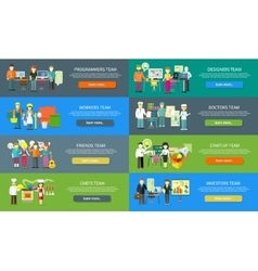 Work team people job concept flat design vector