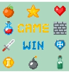 Pixel games icons for web app or video game vector image