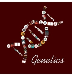 Genetic science symbols in dna shape icon vector