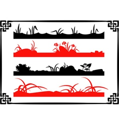 Collection of chinese garden silhouettes vector