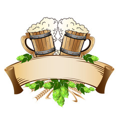 Wooden beer mugs still life vector
