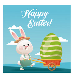 Happy easter bunny carrying egg blue sky vector