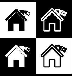 Home silhouette with tag  black and white vector
