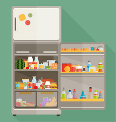 vintage opened refrigerator - full of food vector image
