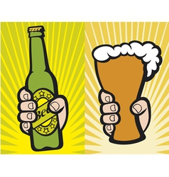 Hand holding a glass of beer and green beer bottle vector