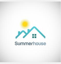 summer house sun logo vector image