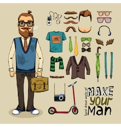 Retro style man set vector