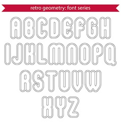 Double delicate line retro characters set light vector