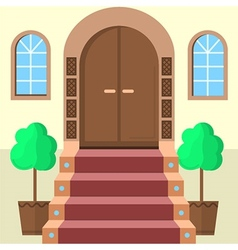 Flat of facade doors with stairs vector