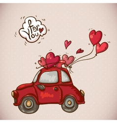 Doodle card valentines day with red car vector