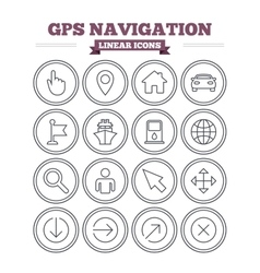 Gps navigation linear icons set thin outline vector