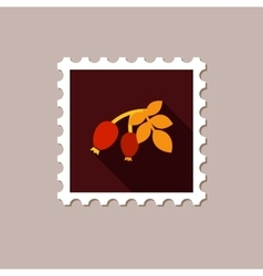 Rosehip branch with red berries flat stamp vector