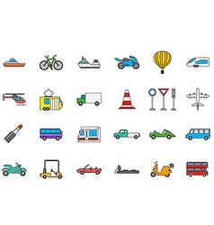 Transport colorful icons set vector image