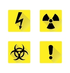 Set of black warning signs on the yellow vector image