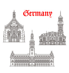 architecture buildings of germany icons vector image