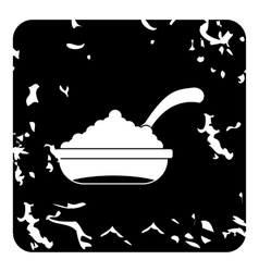 Bowl of caviar with spoon icon grunge style vector