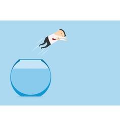 Businessman jumping in auarium vector