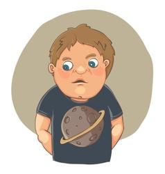 Cartoon boy ashamed in cute t-shirt vector
