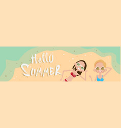 Couple lying on beach top angle view hello summer vector