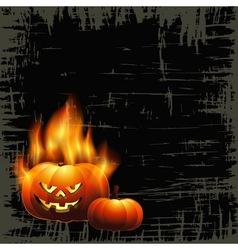fiery pumpkin vector image vector image