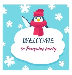 Funny penguin poster vector image