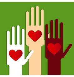 Hands with love vector image