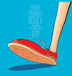 hipster sneakers with motivation quote vector image