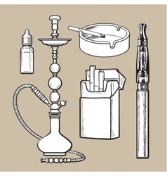 Hookah pack ashtray electronic cigarette and vector image