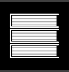 Horizontal stack of books white color icon vector