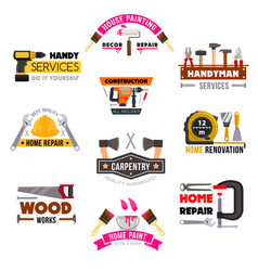 icons set carpentry construction work tools vector image vector image
