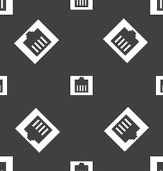 Internet cable rj-45 icon sign seamless pattern on vector