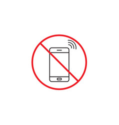 no phone line icon no talking red prohibited sign vector image vector image