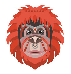 Orangutan head logo monkey decorative vector